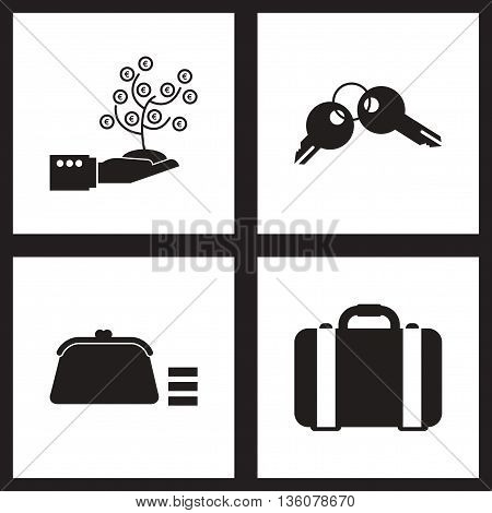 Concept flat icons in black and white  economy