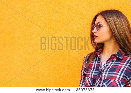 Summer sunny lifestyle fashion portrait of young stylish hipster woman, trendy shirt. copy-space