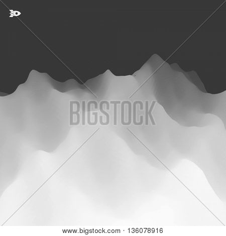 Abstract Landscape Background. Mountainous Terrain. 3d Vector Illustration.