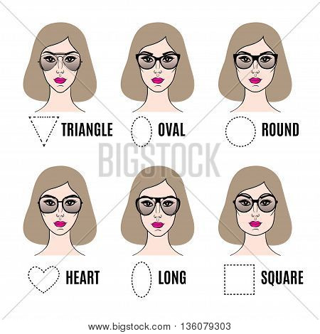 Womens Sunglasses Shapes for different face shapes. Various types of female faces in sunglasses. Vector illustration