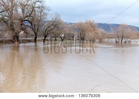 River burst its banks after heavy rains