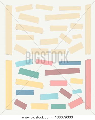 Gray, colorful horizontal and vertical masking, sticky tape pieces on white background.