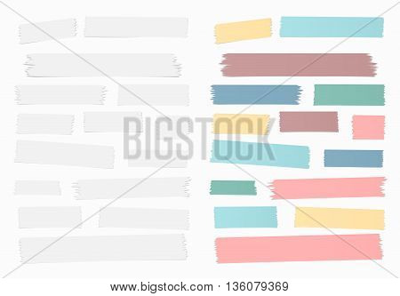 Gray and colorful horizontal masking, sticky tape pieces on white background.