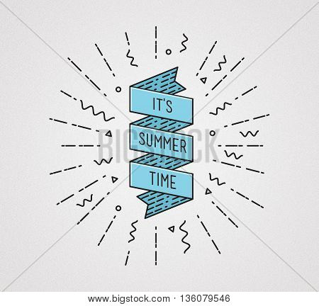 It Is Summer Time. Inspirational Illustration, Motivational Quote