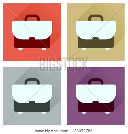 Concept of flat icons with long  shadow business case