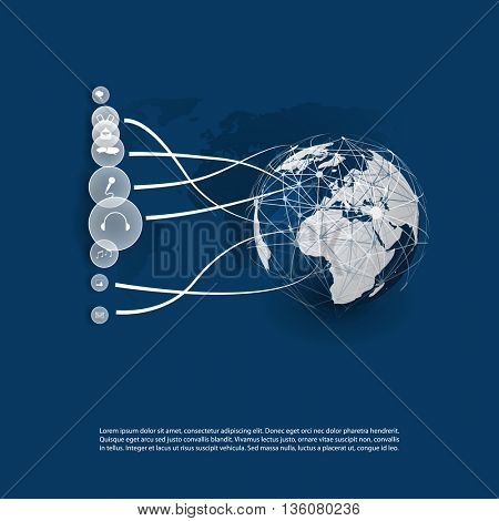 Cloud Computing and Networks Concept Design with App Icons