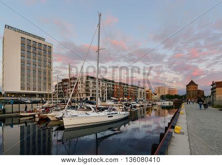 Yachts of Gdansk at sunset Poland Europe.