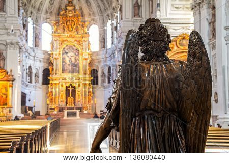 MUNICH, GERMANY - FEBRUARY 22, 2016: Inside the St Michael Jesuit church