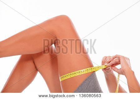 Upper Female Legs On White Background