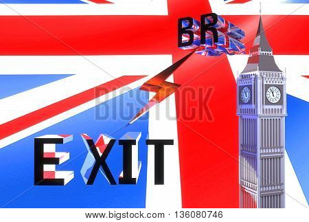 3D-illustration Large letters brexit on a background of red blue and white British flag pattern and the clock tower similar to London's Big Ben - illustration symbolizes Britain out of the EU
