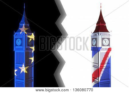 3D-illustration of two towers similar to London's Big Ben one light is lit in the colors of the EU flag on a black background and the other - light color of the British flag on a white background and lightning between them - illustration symbolizes the sp