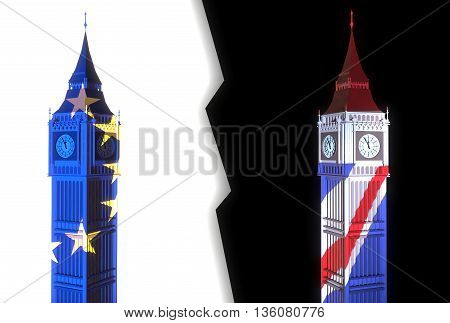 3D-illustration of two towers similar to London's Big Ben one light is lit in the colors of the EU flag on a white background and the other - light color of the British flag on a black background and lightning between them - illustration symbolizes the sp