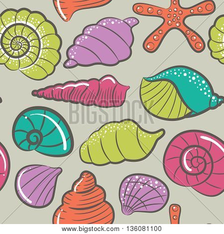 Vector seamless pattern with colorful different cute seashells