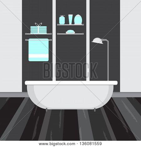 Modern bathroom interior in dark color. Vector flat illustration