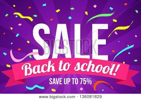 Back to school sale design. Modern flyer with back to school text on ribbon, vector illustration.