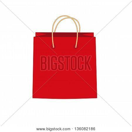 Red shopping bag - modern vector illustration.