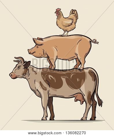 Farm animals. cow, pig chicken beef pork meat