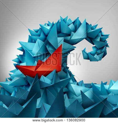 Caught in a wave as a business concept of following popular social trends or corporate insider as an ocean splash made of paper boats with a red boat trapped or integrated within the organised group in a 3D illustration style.