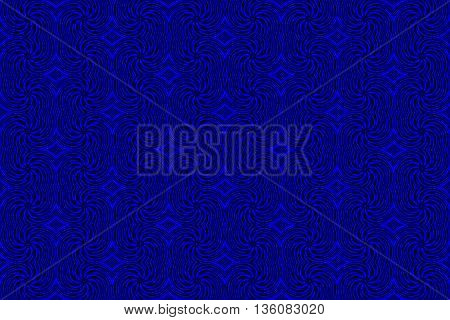 Illustration of repetitive dark blue and black swirls