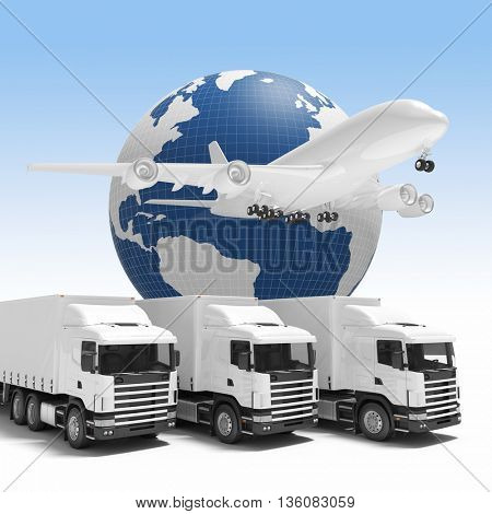 3d image concept of worldwide delivery