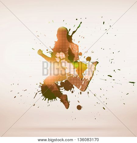 Image with colorful silhouette of dancer on white background