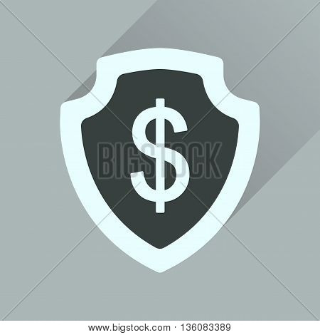 Flat icon with long  shadow money shield