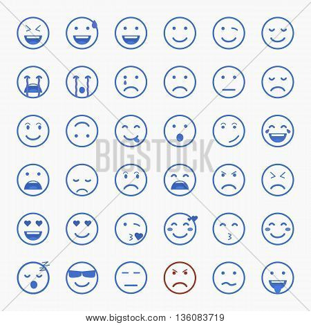 Set of Emoji. Flat style illustrations - stock vector.
