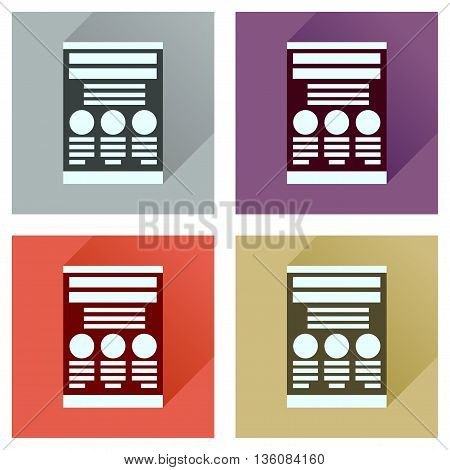 Concept of flat icons with  long shadow economic document