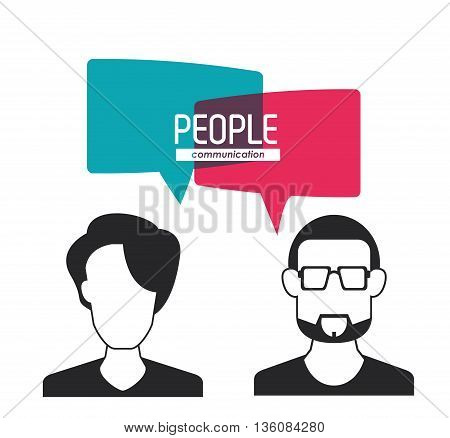 People and Communication concept represented by bubble with woman and man  icon. Isolated and flat illustration