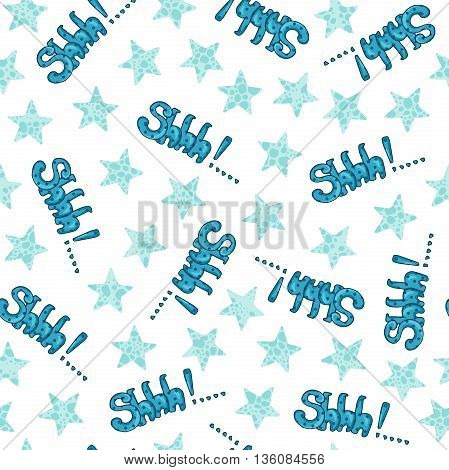 Vector seamless pattern wording sound effect Shhh with stars isolated on white background
