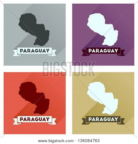 Concept of flat icons with long  shadow map of Paraguay