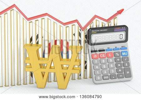 Business finance banking and accounting chart with symbol of won and calculator. 3D rendering