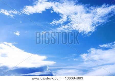 The blue sky and cloud in the evening