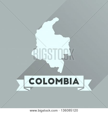 Flat icon with long  shadow Columbia card