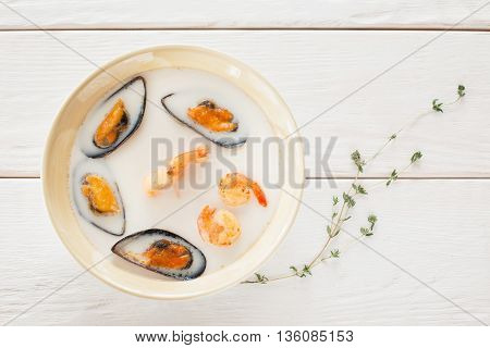 Food Seafood Cream Soup White Bowl Shrimp Mussel Creative Chinese Japanese Cuisine Restaurant Concept