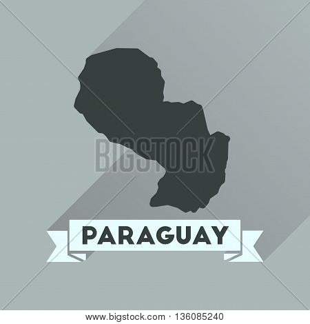 Flat icon with long  shadow map of Paraguay