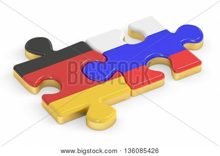 Russia and Germany puzzles from flags relation concept. 3D rendering