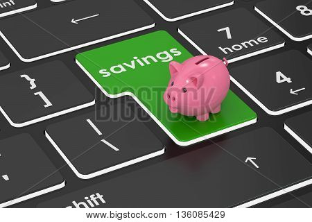 Savings concept 3D rendering on the laptops buttons