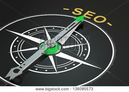 SEO compass concept 3D rendering isolated on black background