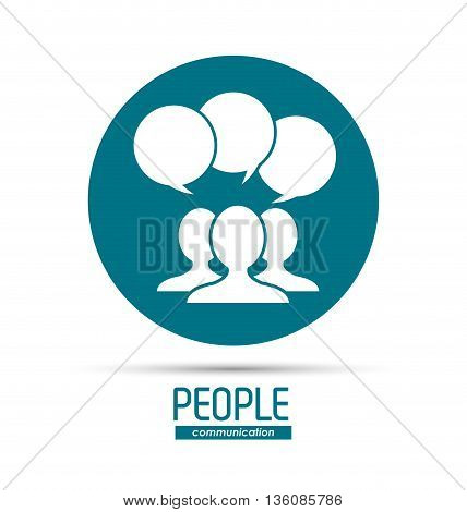People and Communication concept represented by bubble and silhouette of  person over circle icon. Isolated and flat illustration