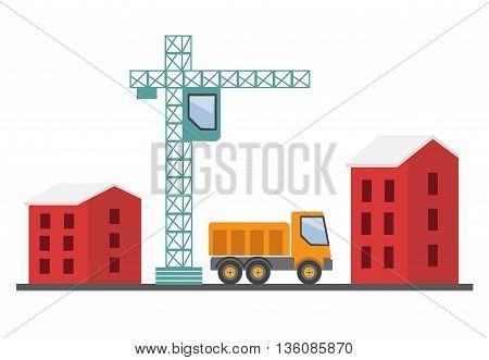 Under construction. Building a house vector illustration eps 10