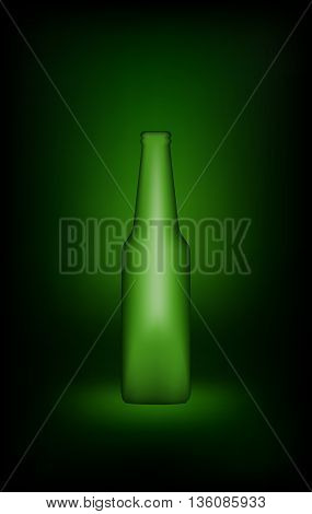 Green beer bottle. Empty glass bottle with template design. Mock Up Ready For Your Design. Isolated On Green Background. Vector illustration.