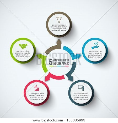 Vector infographic design template. Business concept with 5 options, parts, steps or processes. Can be used for workflow layout, diagram, number options, web design. Data visualization.