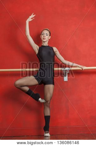 Young Female Ballet Dancer Practicing At Bar