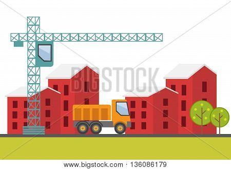 Construction site building a house. Vector illustration eps 10