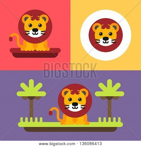 A set of three bright illustrations of funny lion cub. Bright cute baby lion with mane. Colored flat vector illustration.