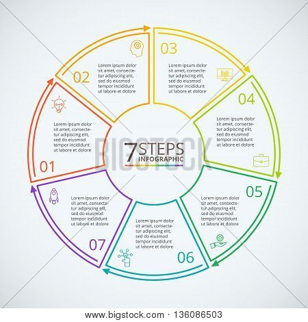 Thin line flat circle for infographic. Template for diagram, graph, presentation and chart. Business concept with 7 options, parts, steps or processes. Data visualization.