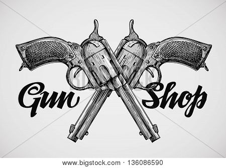 Hand-drawn vintage guns. Crossed pistols. Vector illustration