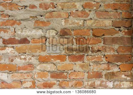 Old brown grunge brick wall textured surface