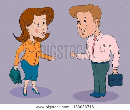 businesswoman and businessman standing talking smiling and showing thumbs up with briefcases
